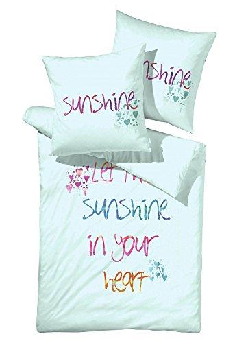 Renforce-Bettwäsche Bettbezug Bettwäschegarnitur MAXI | 2-tlg | 135x200 cm | Baumwolle | Mint | Schriftzug