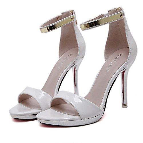 GS~LY Geschenk der Mutter Tages Freiliegende toe High Heels einfache Sandalen Black
