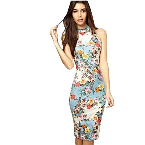 robe femme, Transer ® Fashion femmes Vintage Floral imprimé sans manches Casual crayon Slim Mini robe Bleu