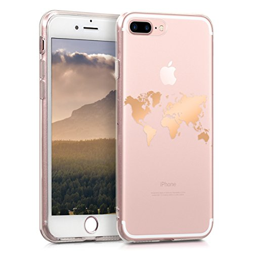 kwmobile Apple iPhone 7 Plus / 8 Plus Hülle - Handyhülle für Apple iPhone 7 Plus / 8 Plus - Handy Case in Rosegold Transparent