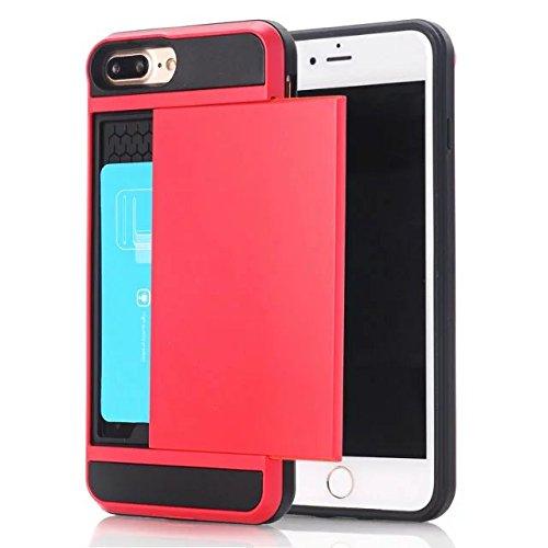 iPhone 7 Plus Coque,Lantier [Doux TPU Bumper+dur PC] résistant aux chocs à double couche Armure Wallet Etui de protection Defender avec porte-cartes pour Apple iPhone 7 Plus Vert Red