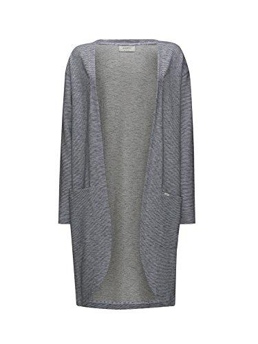ADPT. Damen Long-Cardigan mit Taschen Tainted | Strick-jacke lang 100% Baumwolle (XL, Black/Stripes)