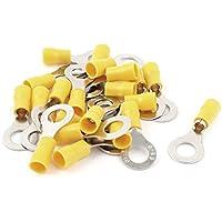 "sourcingmap® 20 Terminales de anillo aislado PC RV5.5-8 amarillo Pre 5/16 ""Stud para AWG 12-10 Cable"
