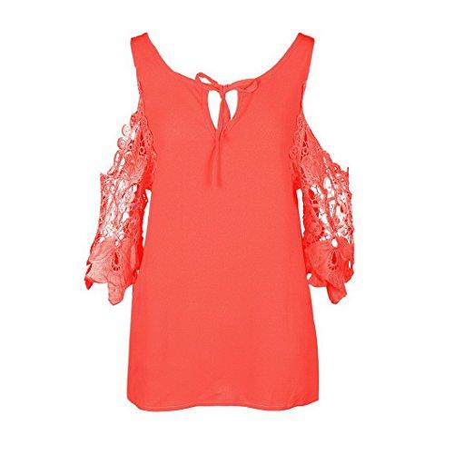 Evedaily Frauen Elegant Sommer Rundausschnitt T-Shirt Tops Aus der Schulter Tops Oberteile Kurzärmelig Neon Orange
