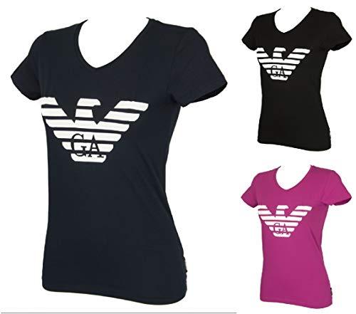 save off 1dfdf 77fce Emporio Armani T-Shirt Maglietta Donna Scollo V Manica Corta Cotone Stretch  Articolo 163321 9P317