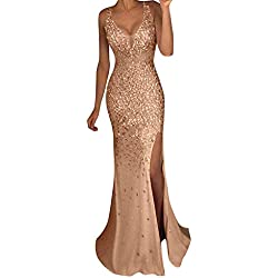 2019 SS Vestido de Fiesta con Hombros Descubiertos Vestidos Elegantes para Mujer,Women Sequin Prom Party Ball Gown Sexy Gold Evening Bridesmaid V Neck Long Dress