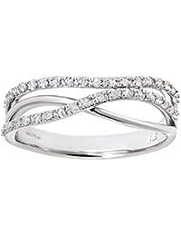Naava Women's 9 ct White Gold 0.21 ct Round Brilliant Diamond Crossover Ring