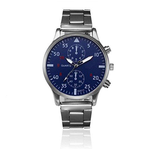❤️ Amlaiworld Hommes Mode Montre en acier inoxydable en cristal Montre-bracelet de quartz analogique Bracelet❤️ (1, Argent)