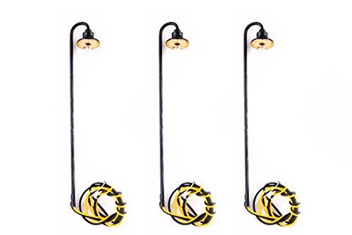 Bogenlampe mit Schirm, 3 Stück, höhenverstellbar max 74 mm, Spur TT / H0