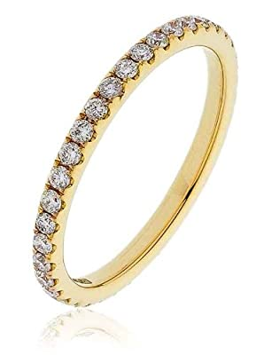 0.50CT Certified G/VS2 Round Brilliant Cut Claw Set Full Eternity Diamond Ring in 18K Yellow Gold