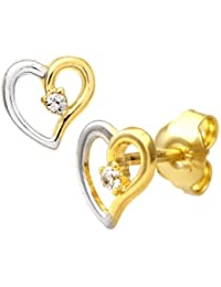 Citerna 9 ct Yellow and White Gold Cubic Zirconia Heart Stud Earrings