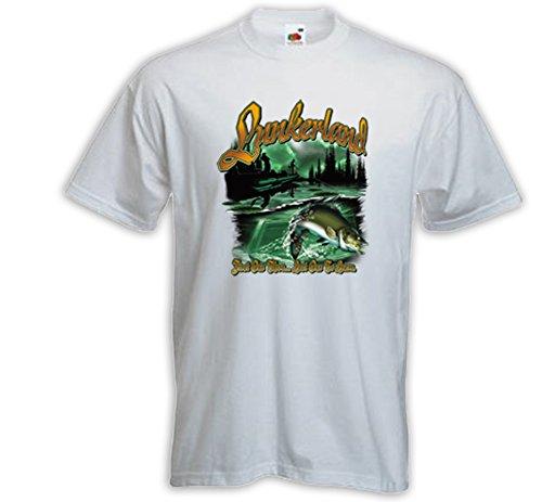 Angler T-Shirt Lunkerland weiß Sport Fischen Angeln Natur US Fisch Weiß