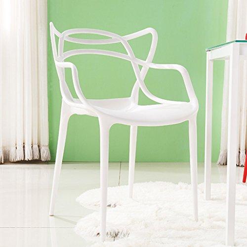 CKH Kunststoff Stuhl Europäischen Sessel Modernen Minimalistischen Restaurant Schreibtisch Verhandeln Casual Make-Up Stuhl Maniküre Stuhl Kreative Hocker ( Color : White - Schreibtisch Leiter Schwarz