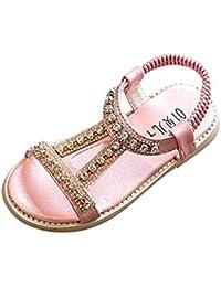 Topgrowth Sandali Bambina Fiocco Perla Cristallo Sandali Romani Scarpe da Principessa Sandali Scarpine Neonato Prima (30, Rosa)