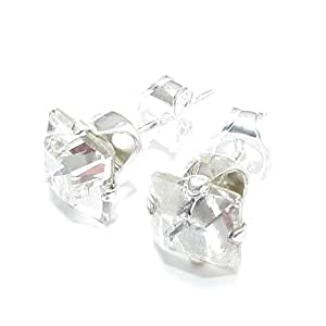 MEN'S SILVER STUD EARRINGS MADE WITH BRILLIANT SWAROVSKI CRYSTAL. HIGH QUALITY. LOW PRICES.