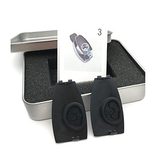 Yika 2pezzi in metallo cromato, Melo emblemi badge Key case Fit per Benz Classe A, B, C, e, S, g, GLS, CLA, GLA, Glc, GLe Class A logo distintivo A0008900023Support most chiavi