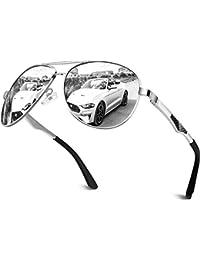CGID Sonnenbrille Herren Pilotenbrille Polarisiert Prämie Al MG Metall Rahmen Unisex Uv Schutz 400 GA61, Cat.3, CE