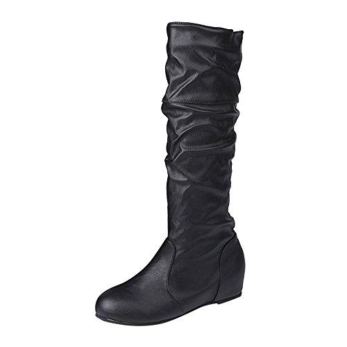 Bottes Femme Binggong Bottes en Cuir à la Mode Hiver Plat Solide Couleur De noël Pointu Longues Bottes Longues Chaussures Décontractées Taille: 36-43