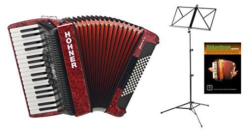 Hohner Bravo III 72 Akkordeon rot SET inkl. Notenständer und Schule (Pianoakkordeon, 72-Bässe, 3-Chöre, 5 Register, inkl. Trageriemen, Gigbag Tasche, Noten)
