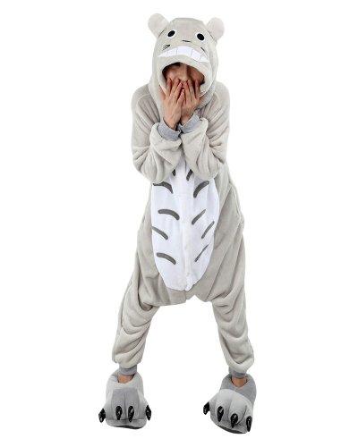 Win8Fong Kigurumi-Pyjama, Tier-Anime, Cosplay-Kostüm, unisex, Erwachsene, Halloweenparty, heiße Party, Einteiler, Schlafbekleidung, blaue Nähte Gr. X-Large, (Totoro Kigurumi Kostüm)