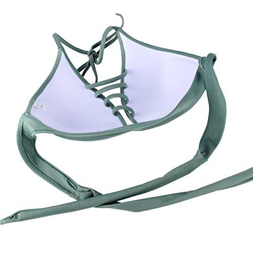 Damen Push Up Bikini Set Gepolstert Neckholder Bandeau Bademode ohne Bügel Tankini Badeanzug Strandmode Grün