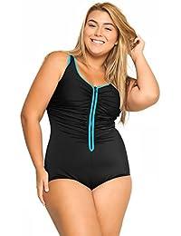 Delimira Damen Einteiler Badeanzug - Vorne Reißverschluss,Schale Slim Bademode