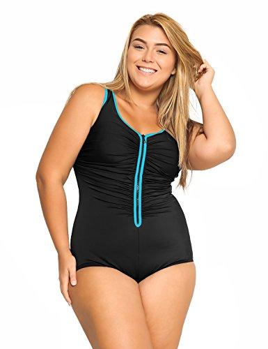 Delimira Damen Einteiler Badeanzug - Vorne Reißverschluss,Schale Slim Bademode Mehrfarbig #3 48