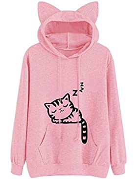 SHOBDW Mujer gato de manga larga sudadera con capucha blusa Tops Jersey