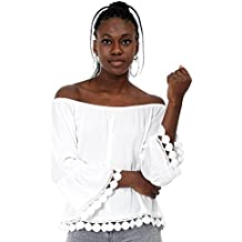 Mers Style - Blusa Bordada con Manga Volante para Mujer
