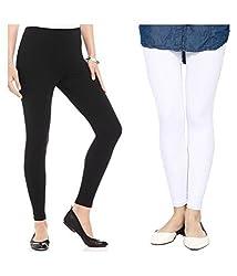 Vatsla Women's Cotton Leggings Combo (Pack of 2) (VHMJ2CMBFree Size_Multi Color)