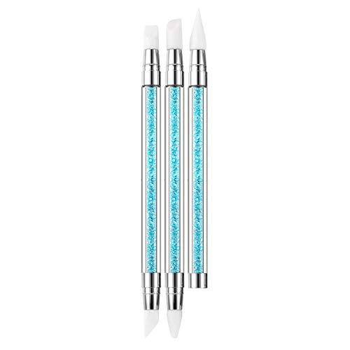 Doppelköpfiger Silikonstift mit Gravur, geprägter hohler Stift mit blauem Diamant