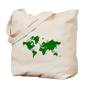 CafePress–Bolsa de tela, mapa del mundo–Gamuza de bolsa de lona bolsa, bolsa de la compra