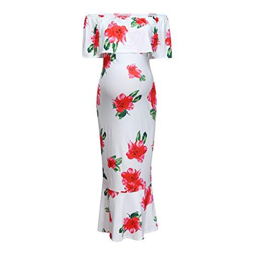 Cuteelf Schwangere Frauen kleiden eine Schulter Blume Lotusblatt Kragen Schwangere Blumen Frauen gekräuselt Off-The-Shoulder Umstandskleid schießen Kunst