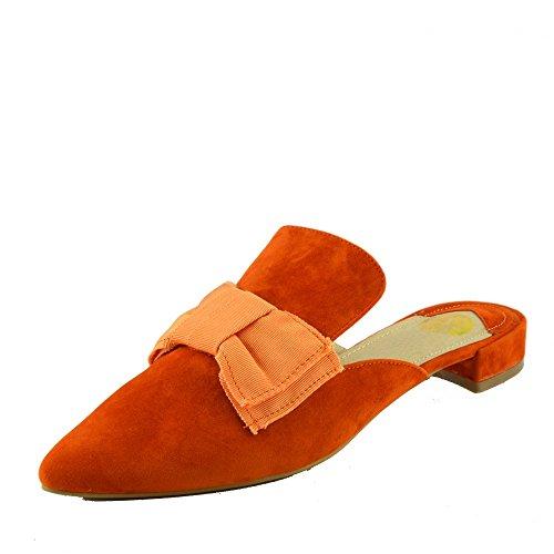Kick Footwear - Zapatillas Casual De Punto De Mujer De Terciopelo Amarillo Zapatillas Planas De Color Naranja De Mulas Planas