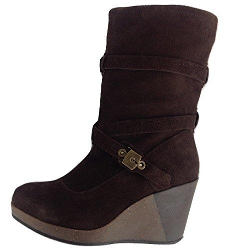 Dr. Scholl KESSY Damen Stiefel Stiefeletten Keilabsatz Wedges Boots Dunkelbraun Dark Brown (1019) EU 36, UK 3 (Dr. Scholls Wedges Schuhe Frauen)