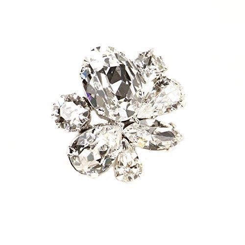 Spilla elegante fiore swarovski strass per vestito da sera blusa placcato argento rodiato