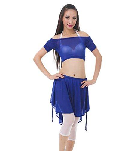 ZhiYuanAN 4Pcs Costume De Danse Du Ventre Set épaule Plat Tops & Soutien-Gorge & Jupe & Pantalon Set Saphir
