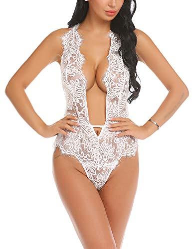 Damen Sexy Body Dessous Rückenfrei Spitze Bodysuit Negligee Reizwäsche Unterwäsche Babydoll Lingerie Erotic Nachtwäsche Weiß M -