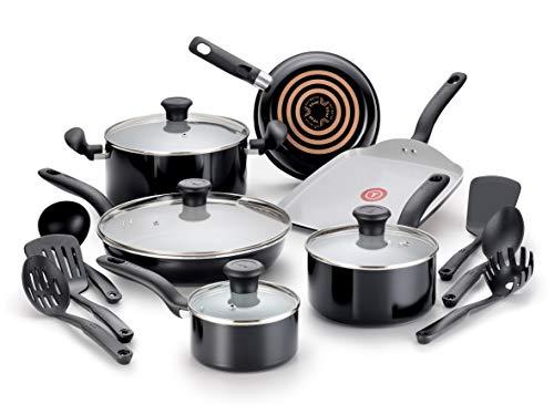 T-fal C921SG Initiatives Kochgeschirr-Set, Antihaftbeschichtung, PTFE-, PFOA- und Cadmiumfrei, kratzfest, spülmaschinenfest, ofenfest, 16-teilig, Schwarz (Töpfe T-fal Pfannen Und Set)