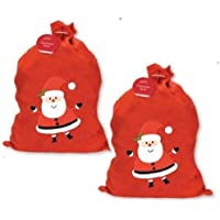 2 X LARGE FATHER CHRISTMAS SANTA SACK RED STOCKING GIFT PRESENTS XMAS