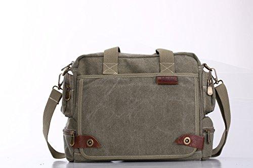E-Bestar Herren Canvas Handtasche Herren Canvas Tasche Messenger Bag Schultertasche Ideal für Büro Canvas Uni Umhängetasche SLING BAG Grün