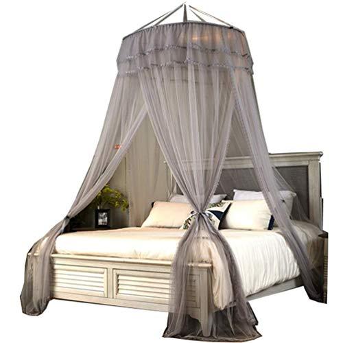 MXK Moskitonetz Betthimmel Für Kinder Fliegen Insektenschutz Indoor/Outdoor Dekorativ, Prinzessin Style Lace Trim Gaze (Color : Gray, Size : Fit2m/6.6ftbed) Trim Gaze