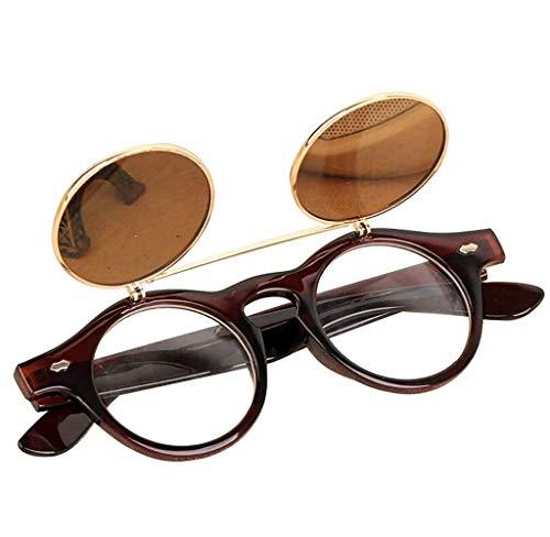 Tomatoa Sonnenbrillen für Herren & Frauen, Männer Steampunk Goth Brille Brille Retro Flip Up Runde Sonnenbrille Vintage