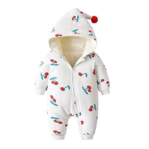 LEXUPE Baby Fleece-Overall, atmungsaktiver Unisex-Jumpsuit für Jungen und Mädchen mit langem Reißverschluss und Kapuze, farbig abgesetzt(D-Weiß,80)