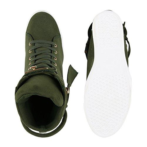 Damen Sneakers Sneaker-Wedges Keilabsatz Metallic Sportschuhe Dunkelgrün