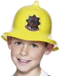 Smiffys Déguisement Enfant, Casque de pompier, avec badge, Couleur: jaune, 26116