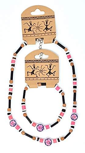 Windworks 76/0052r Armband 5cm Halskette 12cm Flower rosa Holz Kokosperlen wasserfest Metallverschluss (Kokopelli Halskette)