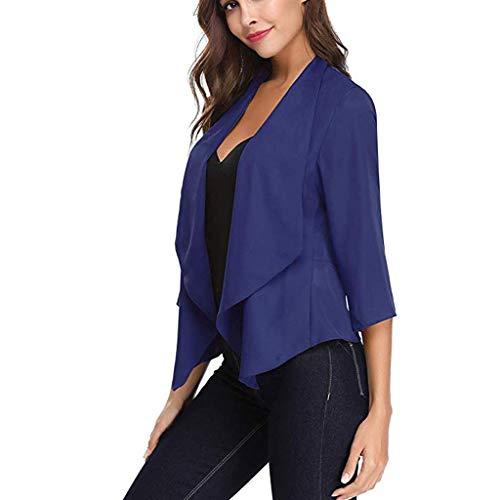 Yvelands Damen Mode Strickjacke Dünner Mantel Offene vordere helle Strickjacke der Frauen 3/4 Hülsen-dünner Chiffon- Blazer(Blau,XL) (Aufhänger Für Pullover Frauen)
