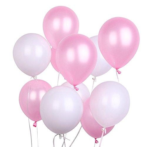 PuTwo Luftballons Rosa Weiß, 100 Stück 12 Zoll Luftballons Rosa Weiss Satz von Luftballons Rosa Pinke Luftballon und Luftballons Weiß, Latexballons für Hochzeitsdeko, Deko Taufe, Deko Geburtstag