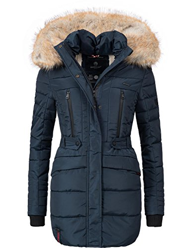 Marikoo Damen Winter Mantel Steppmantel Nova (vegan hergestellt) Blau Gr. XL